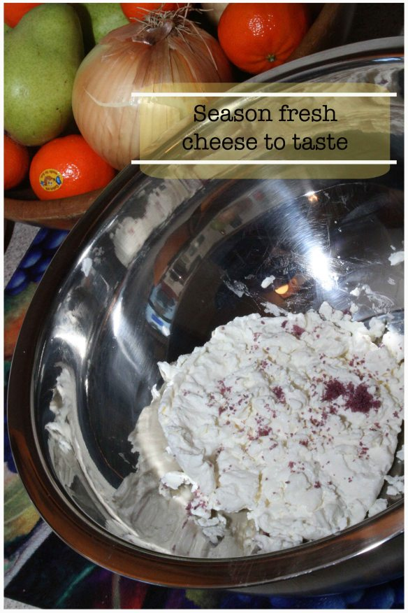 Seasoning cheese with sea salt
