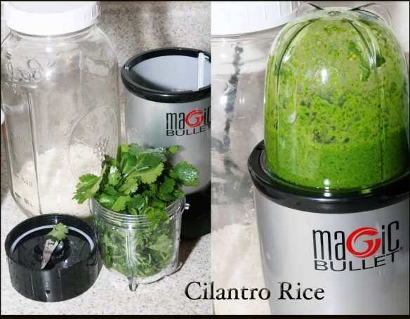 Blending the cilantro