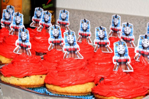 Thomas cupcakes with buttercream frosting