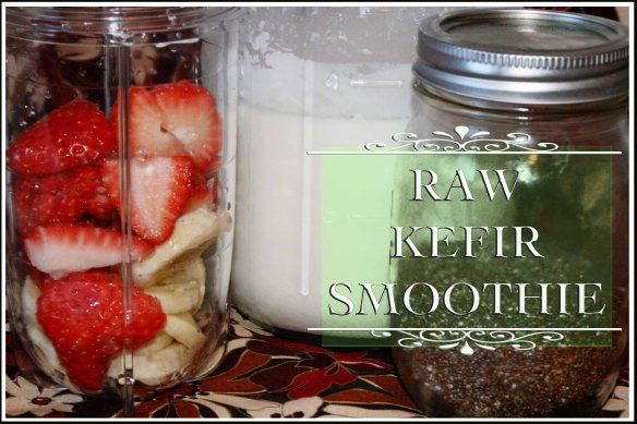 Raw Kefir Smoothie with organic strawberries, bananas & chia seeds
