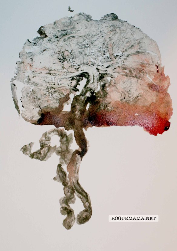 Placenta Print with acrylic paints and natural fluids