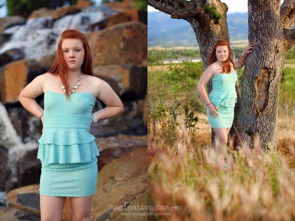 Red headed girl green dress