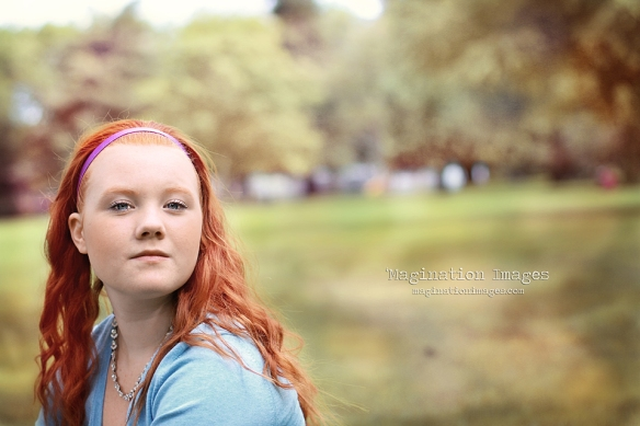 red headed girl on location portrait